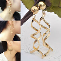 Women Fashion Bohemian Alloy Plated Hook Chandelier Long Dangle Earrings
