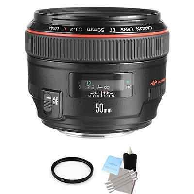 Canon EF 50 mm F/1.2 L USM Lens + UV Filter & Lens Cleaning Kit