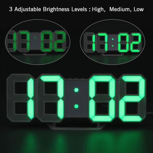 LED Digital Numbers Wall Clock 3D Display Brightness Alarm Snooze Timer Clock