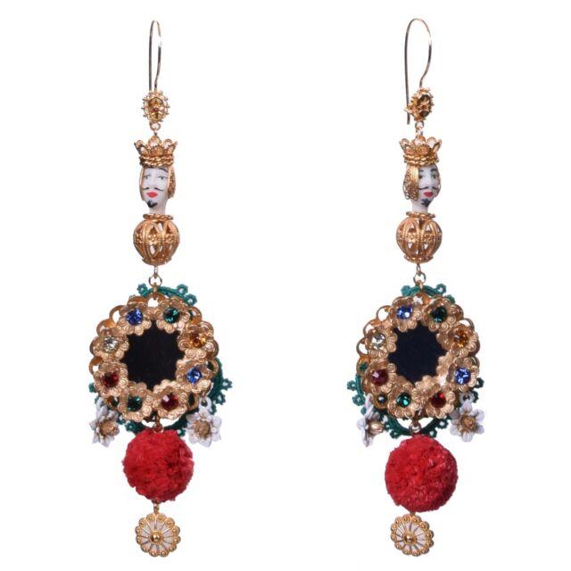 Dolce & Gabbana Runway Sicilia Testa Di Moro Flowers Rafia Earrings Gold 05471