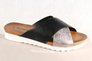Details zu Tamaris Pantolette Pantoletten Hausschuhe Pantoffel schwarzsilber NEU!
