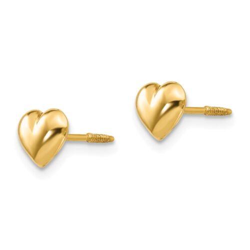 14kt Or Jaune Madi K SM soufflé Coeur Boucles d/'oreilles