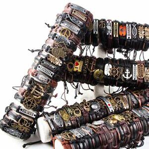 Wholesale-lots-30pcs-Mixed-Styles-Vintage-Biker-leather-Cuff-Bracelets-Jewelry
