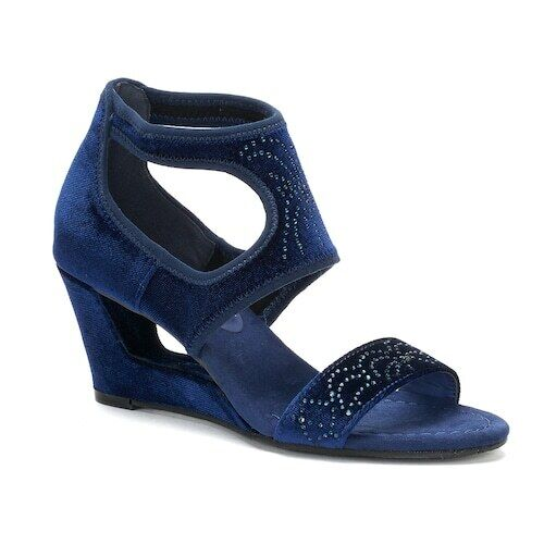 New York Transit Natural Pretty Wedge Sandals Navy Size 9 M