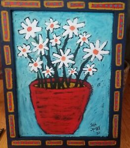 John-Sperry-Southern-Primitive-Folk-Art-Painting-Framed-White-Flowers-034-Serenity-034