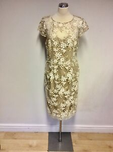 d7f62b4b5a3 BRAND NEW GINA BACCONI GOLD   WHITE EMBROIDERED SPECIAL OCCASION ...