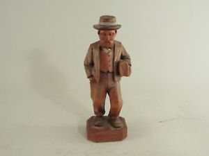 Decorative Arts Vintage Hand Carved Painted Amish Man Wood Figurine To Have A Long Historical Standing
