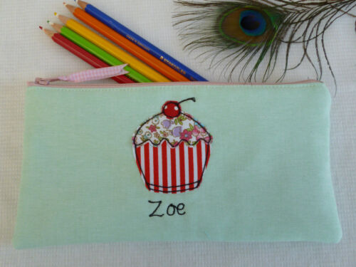 Handmade Personalised Girls Cupcake Pencil Case Name /& Colour Choice ideal gift
