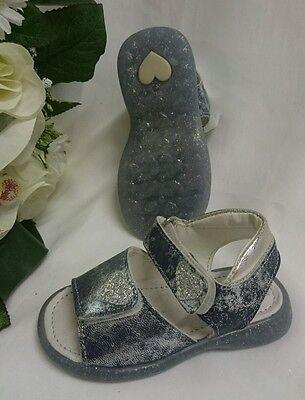 BABY Mädchen Festliche Kinder Schuhe MADE IN ITALY Gr 23 Blau Silber LEDER Herz