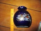 "VTG Oriental Blue Peacock Design Vase 6"" Tall X 5"" Wide With Gold Trim , JAPAN"