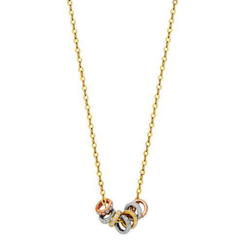 """14K Real Tri Color Gold Rings CZ Necklace 17+1/"""""""