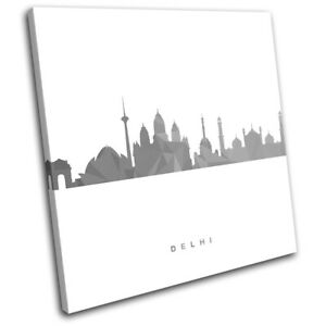 Delhi-Skyline-Geometric-Modern-City-SINGLE-CANVAS-WALL-ART-Picture-Print