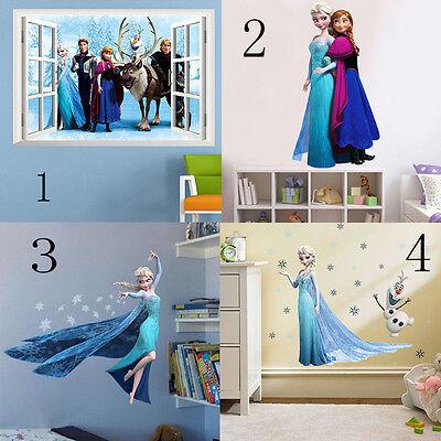 DIY Disney Frozen Elsa Anna Cartoon Sticker Mural Decals Removable Wall Stickers