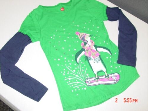 NWT Girls Hanes Layered Look Crew Neck Shirt Penguin Winter Snow Cute