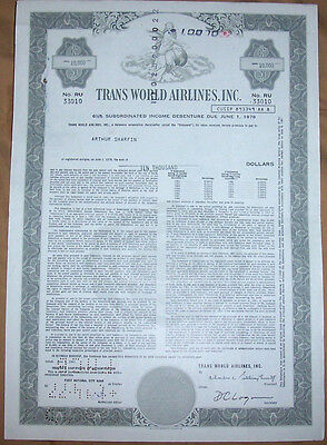 Original USA famous 1961 Debenture Trans World Airlines Inc TWA $10000 deco