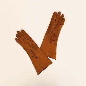 Vintage-20s-Ladies-Warm-Brown-Kid-Leather-Gauntlet-Button-Dress-Deco-Gloves