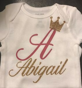 1a4d0054a Image is loading Personalized-Name-Onesie-Custom-Crown-Gerber-Carter-039-