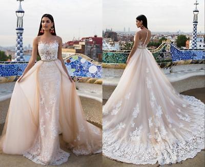 Vestido De Novia Vaina Vestido De Boda Blanco Champán Desmontable Falda Personalizado Ebay