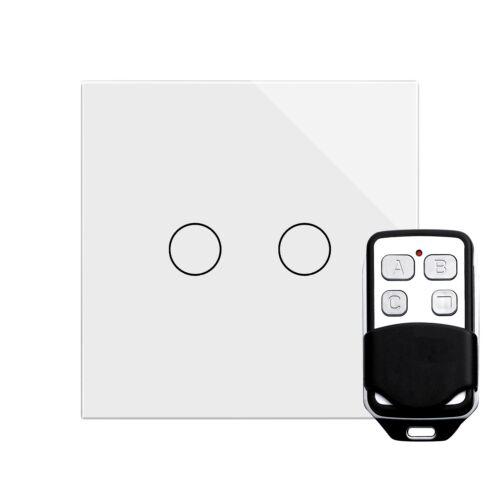 Retrotouch Touch /& à Distance Interrupteur De Lumière 2 Gang 1 Way verre blanc PG 00361