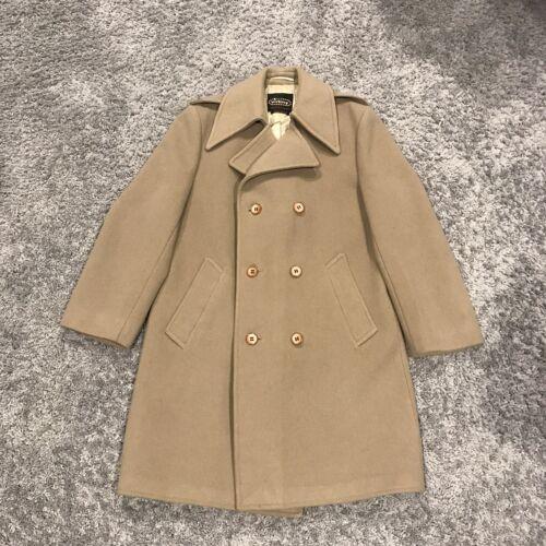 Vintage Virany Mens Large 100% Wool Overcoat tan M