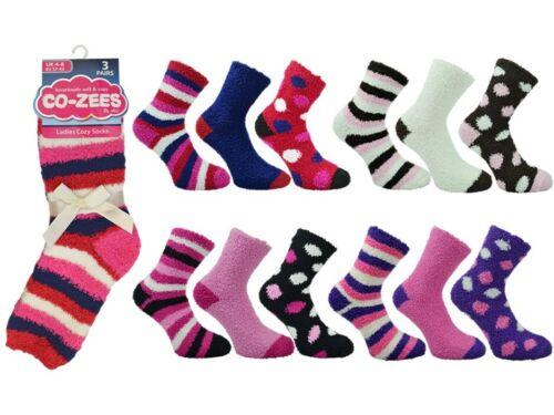 Ladies slipper socks bed sock coZee fluffy comfy winter 3 Pair Pack