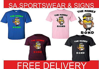 Adulti e Bambini Minion i nomi Bond Design Divertente T-Shirt Taglia S-XXL