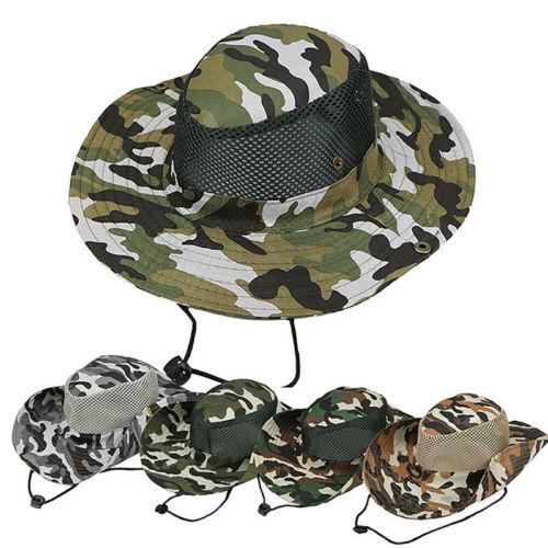 Men Camouflage Hat Boonie Hunting Fishing Outdoor Wide Brim Safari Bucket Hat