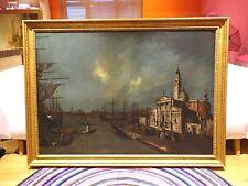 Fine enorme 18th 19th Century Barcos Puerto paisaje pintura al óleo Venecia Guardi