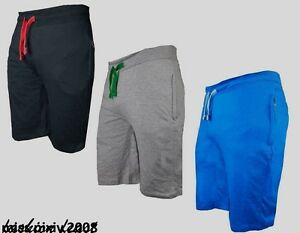 New-Mens-GYM-Plain-Jersey-Summer-Shorts-Light-weight-Baggy-Fit-with-Zip-Pockets