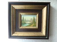 schönes Gemälde Haus am See Wald Landschaft Berge Holzrahmen 19 x23 cm Deko Art