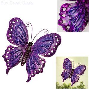 Image Is Loading Vintage Look Metal Art Purple Erfly Wall Hanging