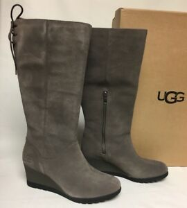 c4eeba13b6c Details about UGG Australia Dawna Grey Waterproof Suede Lace Bow Wedge Knee  High Boot 1017429