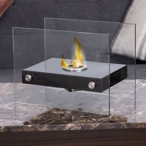 Ventless Firepit Bio Ethanol Tabletop Fireplace Stainless Steel Base