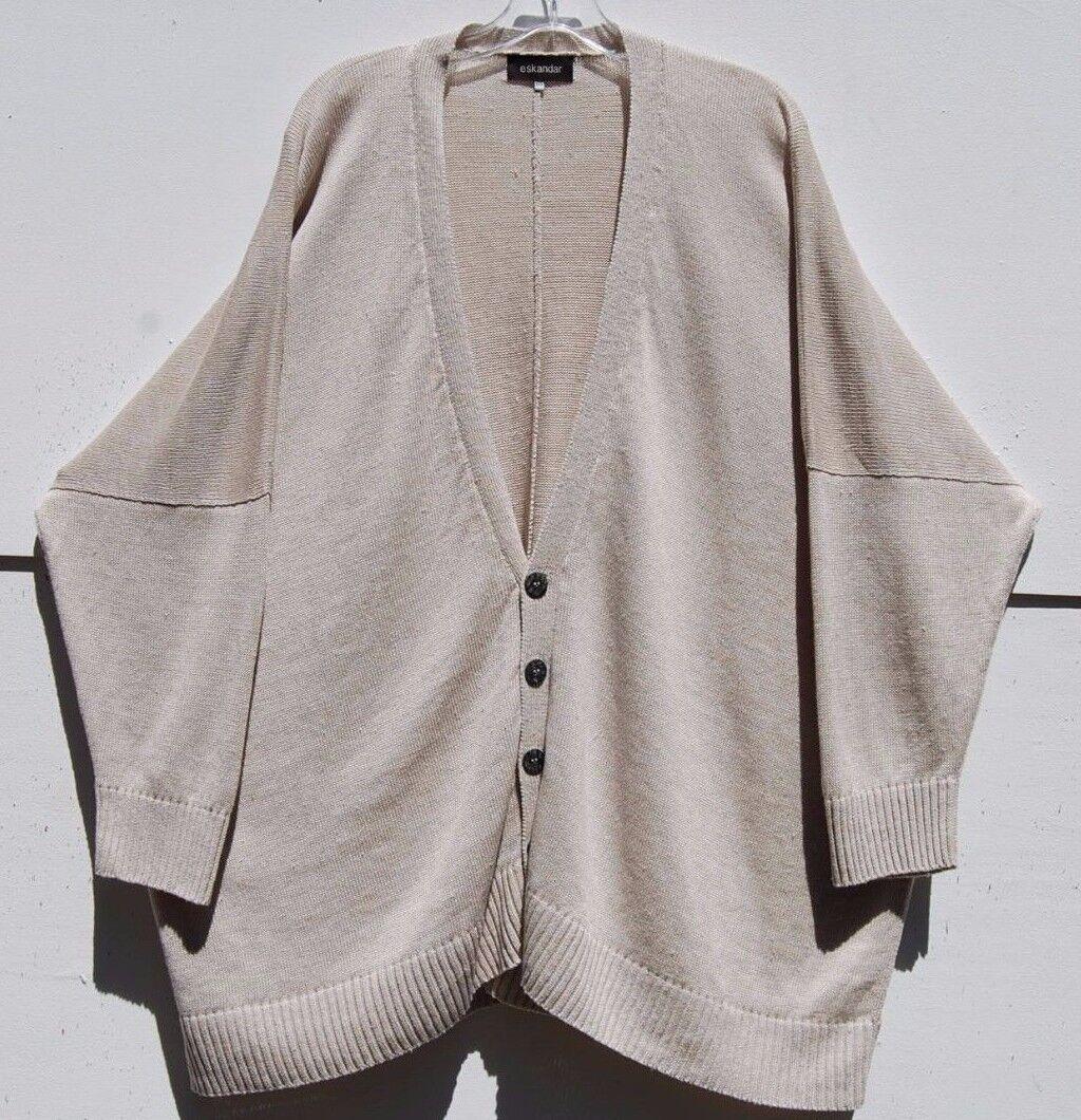 NWT Eskandar NATURAL Medium Weight Linen V-Neck 31  Long Cardigan O S  1295