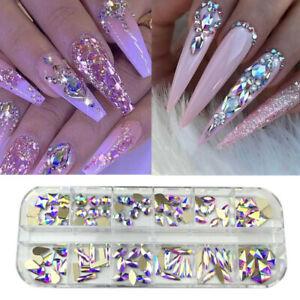 12 shapes crystal ab 3d nail art rhinestones flatback