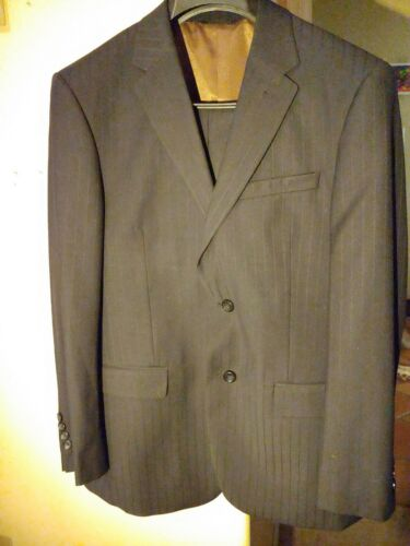 Caravelli Mens 2 Piece Black Pinstrip Suit, excell