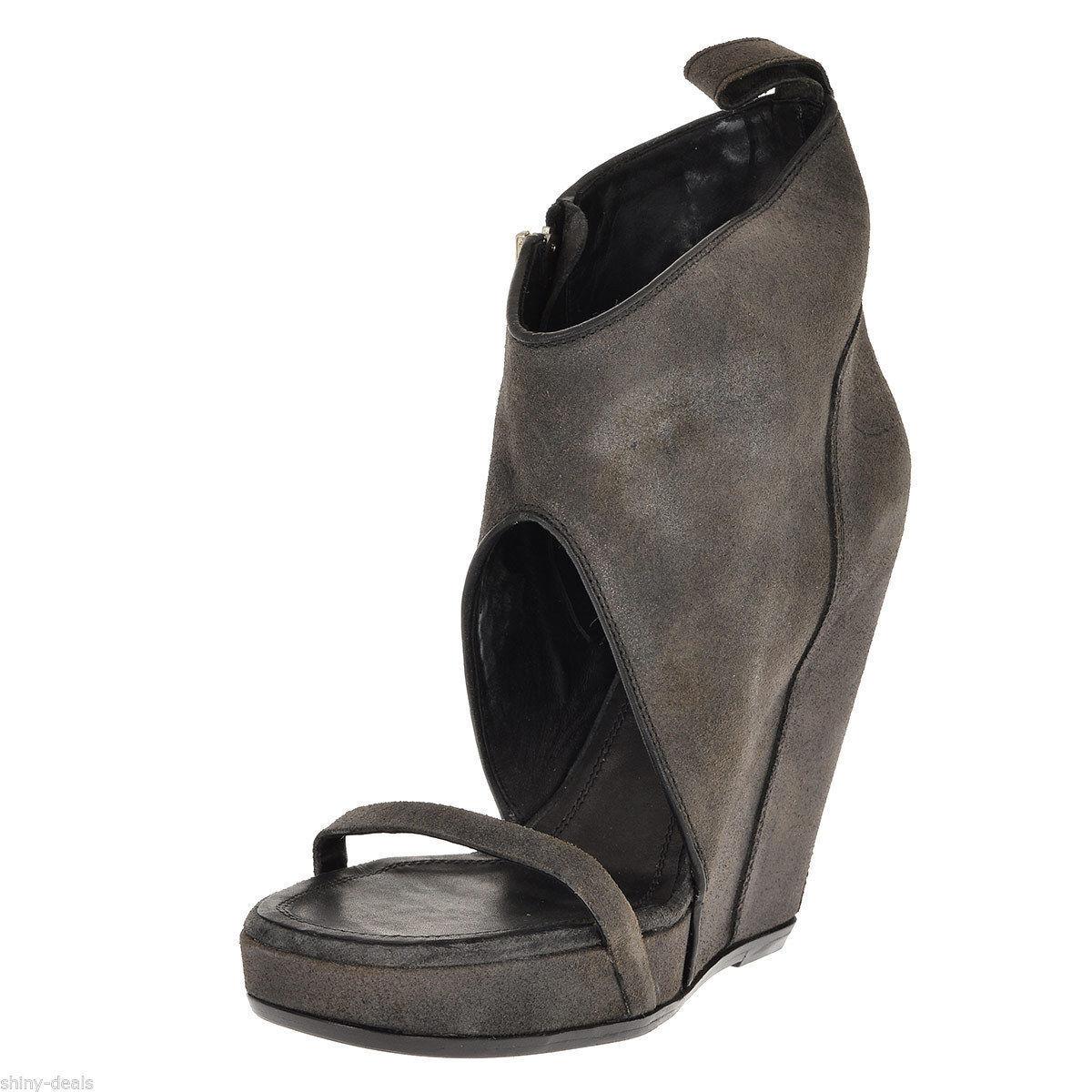 Rick Owens Nuevo Mujer gris Oscuro Cuero Cuña Sandalias Mulas Mulas Mulas Zapatos Talla 41  1132  envio rapido a ti