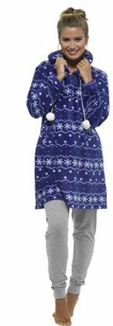 Ladies Fleece Cover Up Fairisle with Pom Poms Warm Cosy Wrap Gift Long Sleeve
