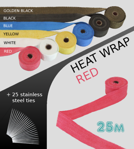 UNIVERSAL-CAR-BIKE-EXHAUST-HEAT-WRAP-with-ties-25-METRE-RED-25M-RED-NSN3