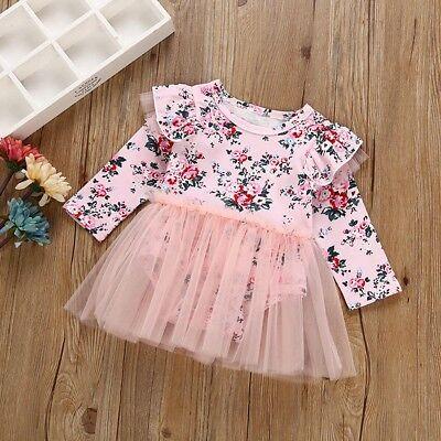 Newborn Baby Girls Kids Flower Long Sleeve Romper Jumpsuit Tutu Dress Outfits