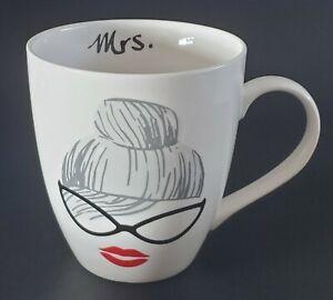 Pfaltzgraff Everyday Mrs Mug Cat Eye Glasses Red Lipstick Hair In Bun Coffee Tea