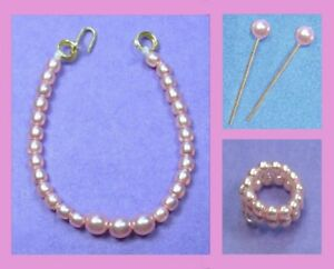 Dreamz-PINK-GRADUATED-PEARL-NECKLACE-EARRINGS-amp-BRACELET-REPRO-made-for-Barbie