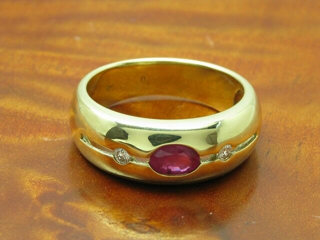 14kt 585 yellowgold Ring mit Brillant & 0,80ct Rubin Besatz   6,2g   RG 56