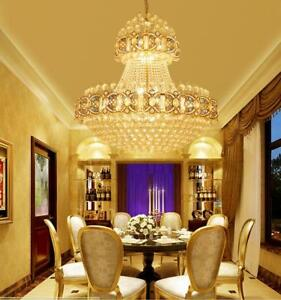 Details About Luxury Crystal Led Ceiling Light Lighting Fixtures Chandelier Hotel Lobby Lamp