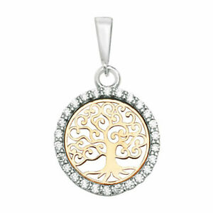 9ct 375 Hallmarked Solid Yellow Gold CZ TREE OF LIFE CHARM PENDANT SMALL