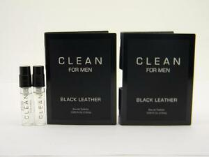 2-x-Clean-BLACK-LEATHER-FOR-MEN-EDT-Vial-Sample-Spray-1-5ml-05-fl-oz-Card