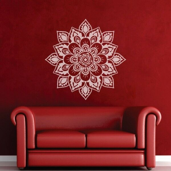 Mandala Wall Decal Namaste Yoga Flower Lotus Inspiration Living Room Vinyl Decor