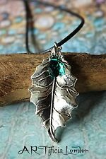 Oak Leaf Necklace with Emerald Green Austrian Crystal | May Birthstone Jewellery