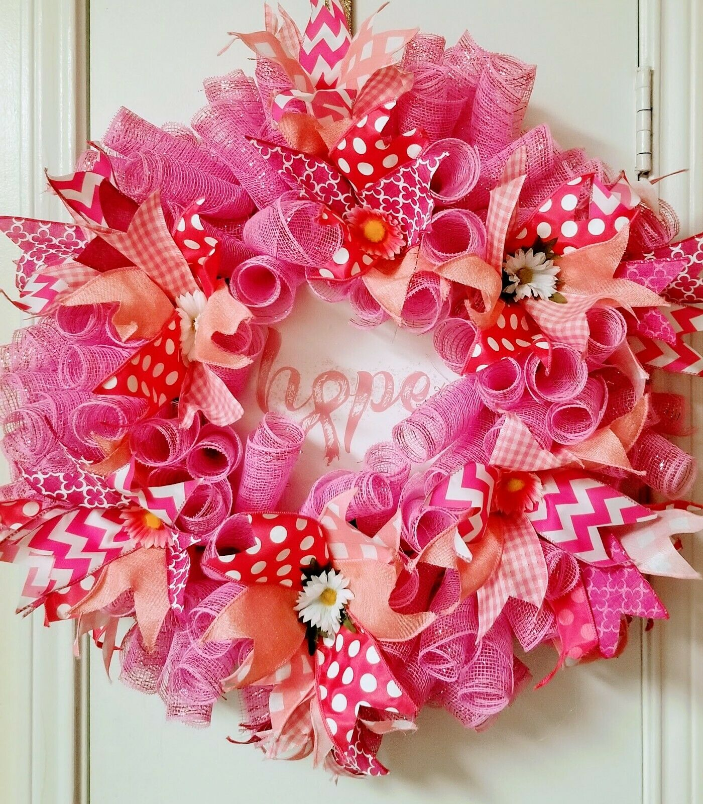 Hope for a Cure Breast Cancer Awareness Deco Mesh Wreath