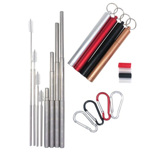 Collapse For Me Telescopic Stainless Steel Straw with Case Sets 4 Pack